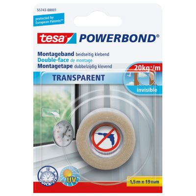 tesa Powerbond Montageband, transparent, 19 mm x 1,5 m