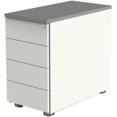 kerkmann Anstell-Container, 4 Schübe, weiß/graphit