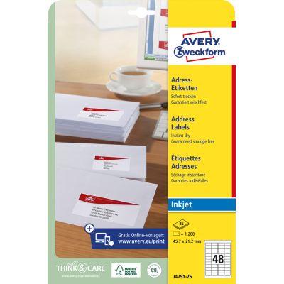 AVERY Zweckform Inkjet Adress-Etiketten, 99,1 x 38,1 mm
