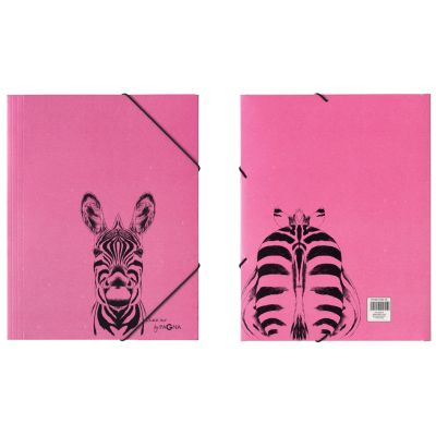 PAGNA Eckspannermappe Zebra, DIN A3, Karton, fuchsia