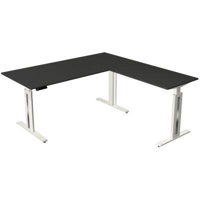 kerkmann Sitz-Steh-Schreibtisch Move 3 fresh mit Anbau, grau