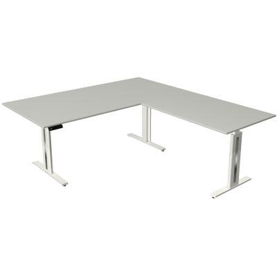 kerkmann Sitz-Steh-Schreibtisch Move 3 fresh mit Anbau, weiß