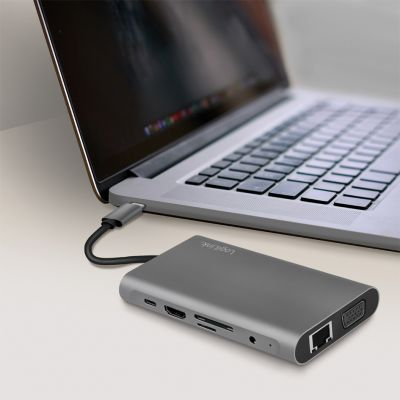 LogiLink USB 3.2 Multifunktionshub, 10-Port, USB-C, silber