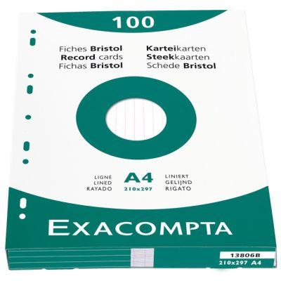 EXACOMPTA Karteikarten, DIN A4, kariert, farbig sortiert