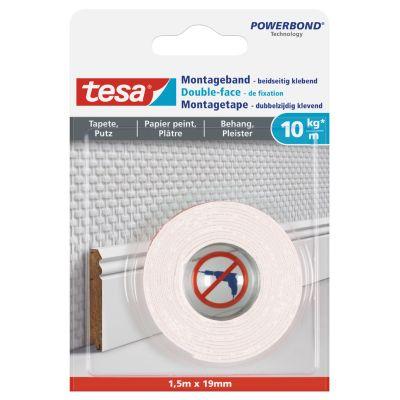 tesa Powerbond Montageband für Tapete/Putz, 19 mm x 1,5 m