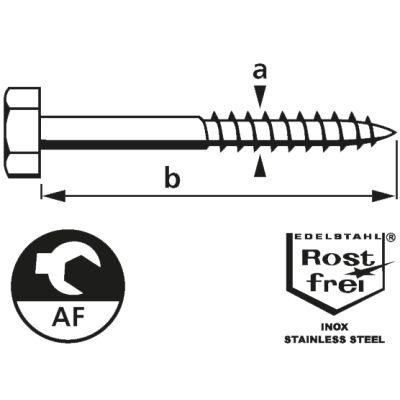 suki. Schlüsselschraube, Edelstahl, 6x40 mm, 25 Stück