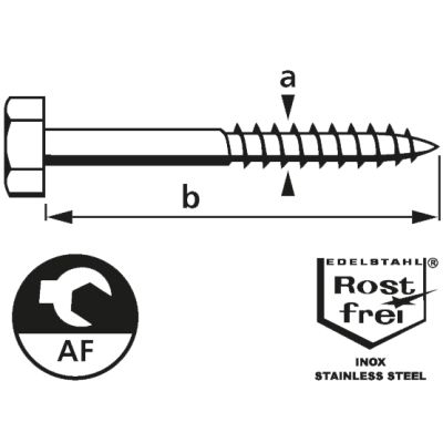 suki. Schlüsselschraube, Edelstahl, 6x50 mm, 25 Stück