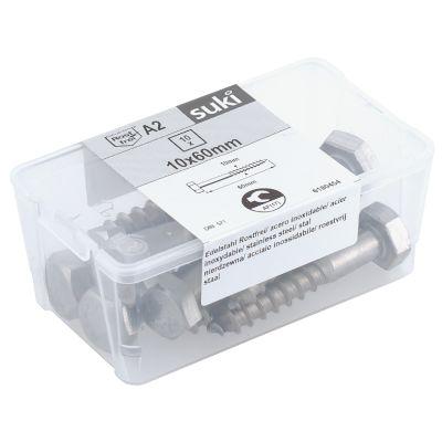 suki. Schlüsselschraube, Edelstahl, 8x80 mm, 10 Stück
