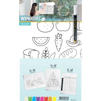 Securit Fensterschablonen-Set WINDOODLE, Lebensmittel-Motiv