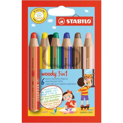 STABILO Multitalentstift woody 3 in 1, 6er Karton-Etui