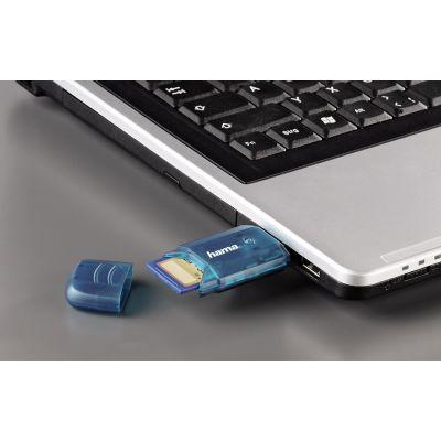 hama USB 2.0 Card Reader, für SD-/MMC-Karten, blau