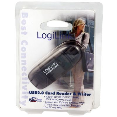 LogiLink USB 2.0 Mini Card Reader für SD/MMC, anthrazit