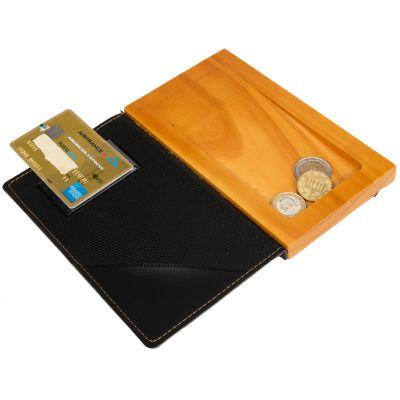 Securit Rechnungsmappe WOOD, aus Leder und Holz, grau