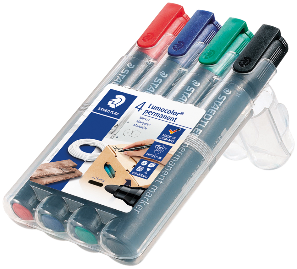 Permanentmarker STABILO Write4All fein 4er Pack Blau Rot Grün Schwarz Stifte Set