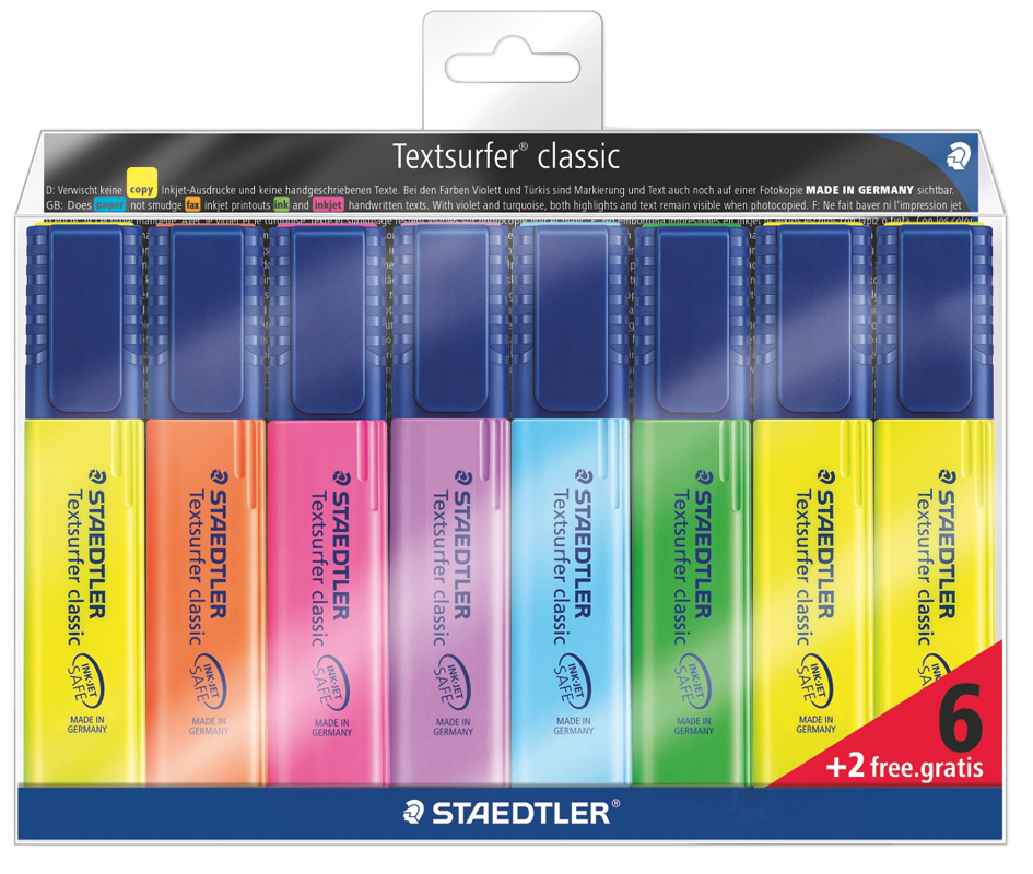 STAEDTLER Textmarker Textsurfer classic, 6 + 2 GRATIS