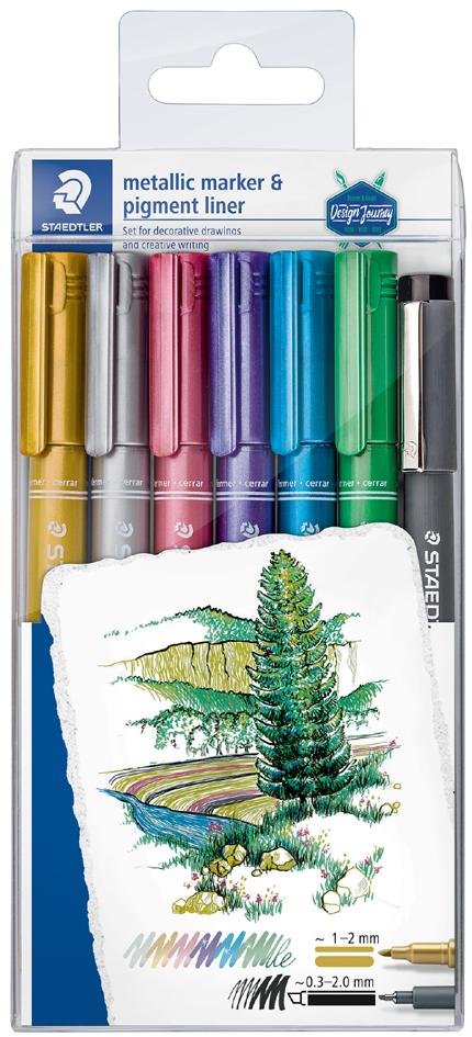 STAEDTLER Permanent-Marker Metallic, 6er Etui + Pigmentliner