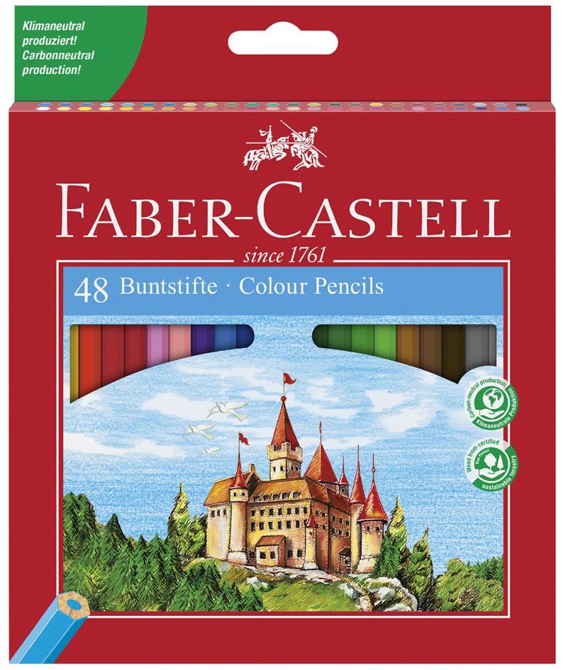 FABER-CASTELL Hexagonal-Buntstifte ECO, 48er Kartonetui