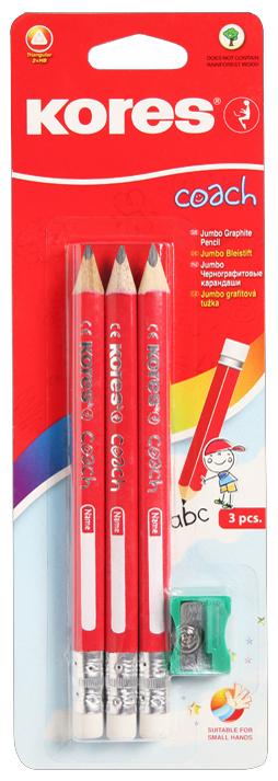 Kores Bleistift COACH, dreieckig, Härtegrad: 2 HB, 3er Pack