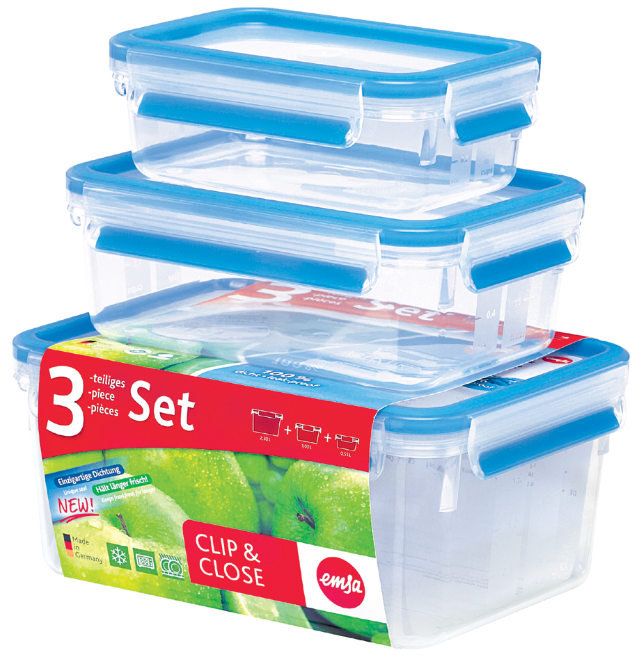 emsa Frischhaltedose CLIP & CLOSE, 3er Set, 0,55/1,0/2,30 L