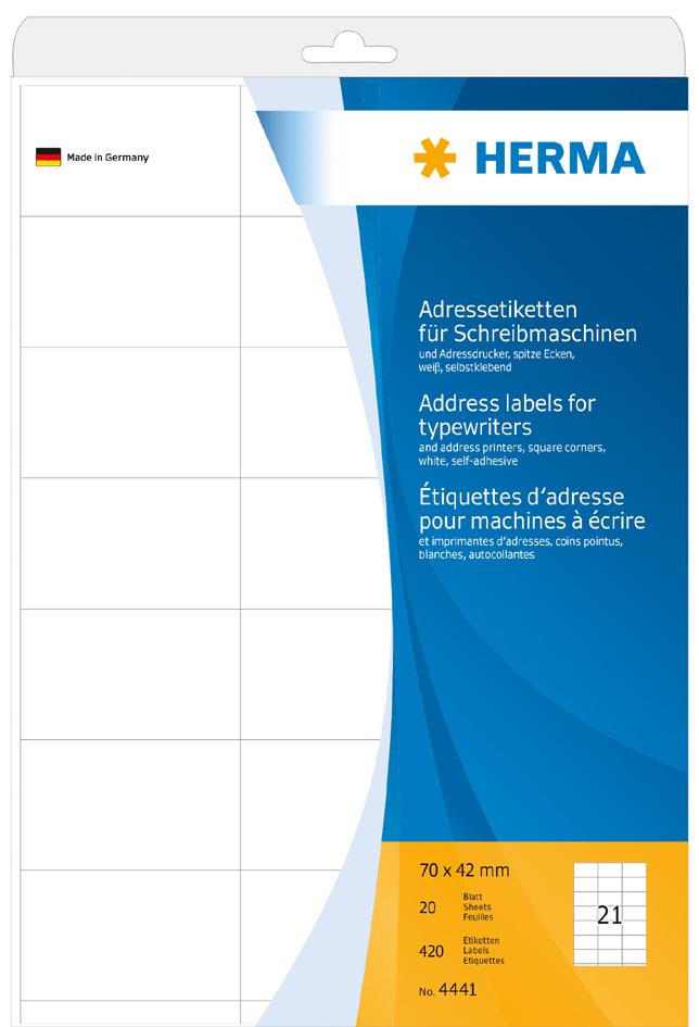 HERMA Adress-Etiketten, 70 x 42 mm, Ecken spitz...