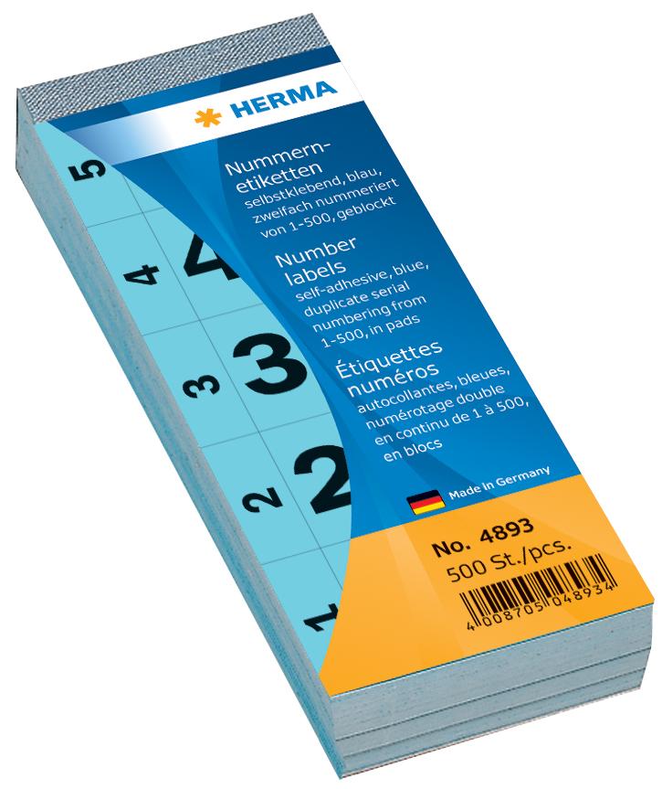 HERMA Nummernblock, selbstklebend, 28 x 56 mm, rot