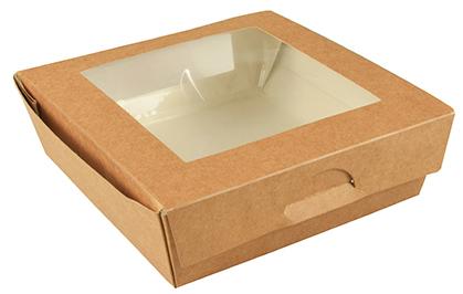 PAPSTAR Feinkostbox ´pure´, eckig, 1.500 ml, braun