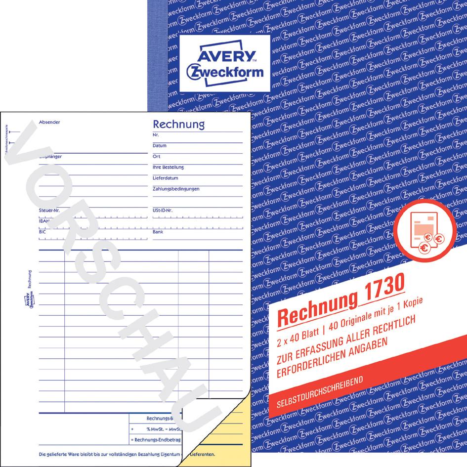 AVERY Zweckform Formularbuch ´Rechnung´, A6, 2 x 50 Blatt