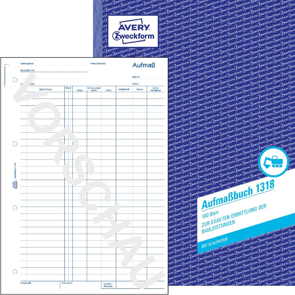 AVERY Zweckform Formularbuch ´Aufmaß´, SD, A4, 50 Blatt