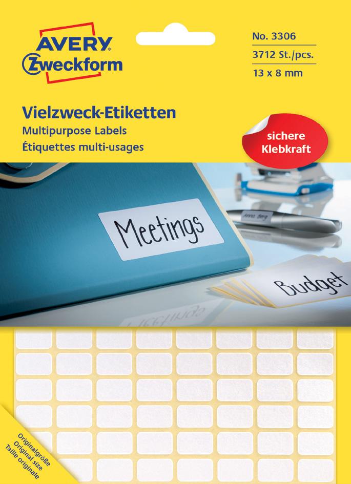 AVERY Zweckform Vielzweck-Etiketten, 62 x 19 mm, weiß, FP - Preisvergleich