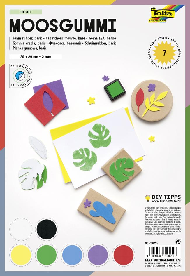 folia Moosgummi BASIC, selbstklebend, 7 Blatt