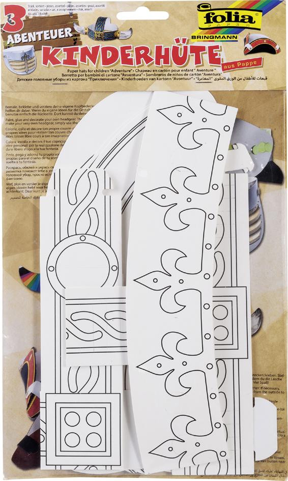 folia Kinderhüte-Set , ABENTEUER, , aus Pappe, weiß