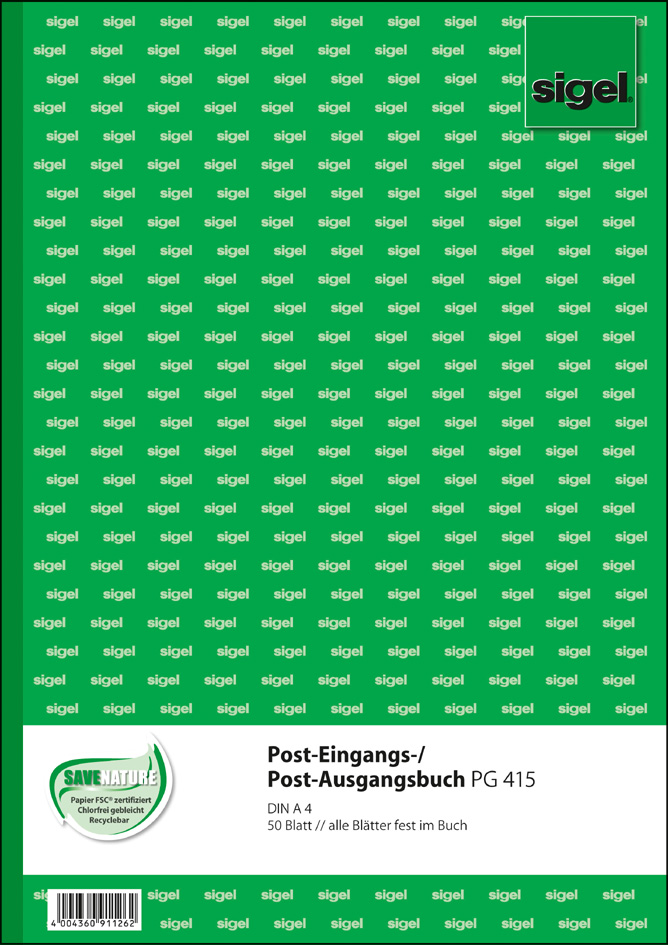 sigel Formularbuch ´Post-Eingang/Post-Ausgang´, A4, 50 Blatt