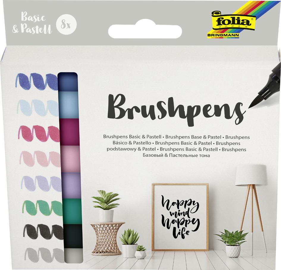 folia Pinselstift Brush Pens ´Basic & Pastell´, 8er Set