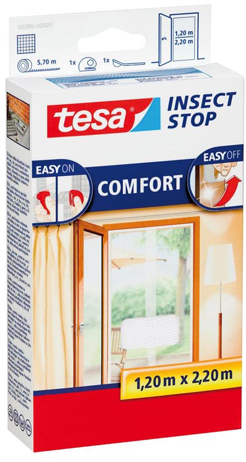tesa Fliegengitter COMFORT für Türen, 2 x je 0,65 m x 2,20 m