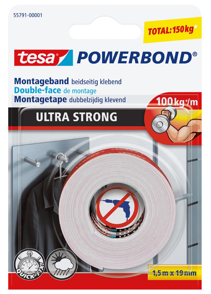 tesa Powerbond Montageband Ultra Strong, 19 mm x 1,5 m