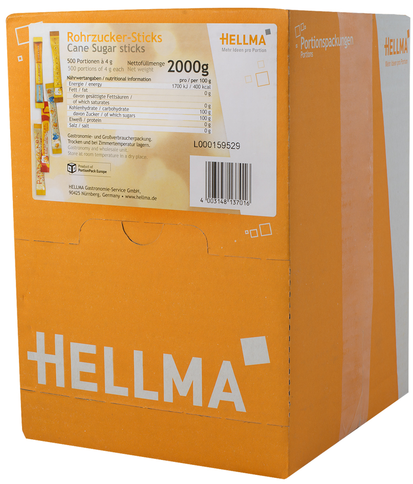 HELLMA Rohrzucker-Sticks, im Displaykarton