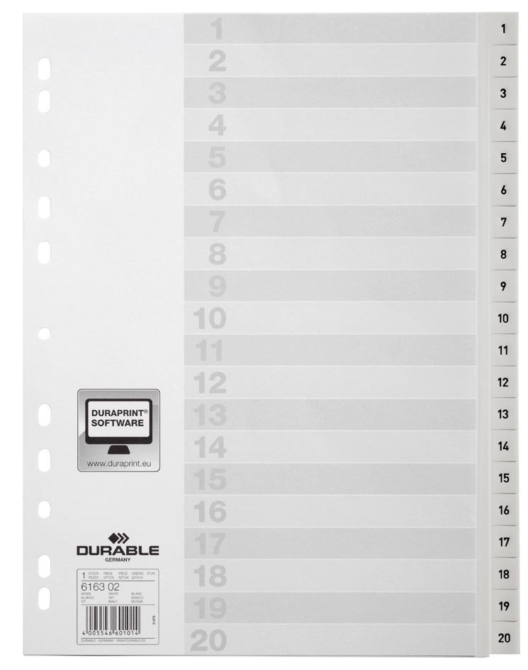 DURABLE Kunststoff-Register, Zahlen, A4, 20-tei...