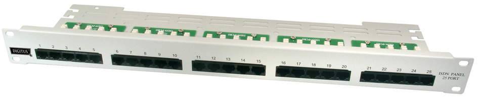 DIGITUS 19´ ISDN Patch Panel Kat. 3, 25 x RJ45,...