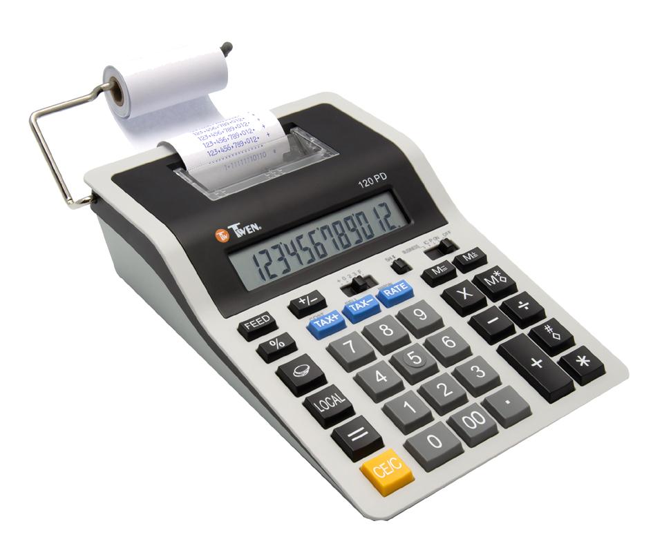 TWEN druckender Tischrechner 120 PD, grau/schwarz