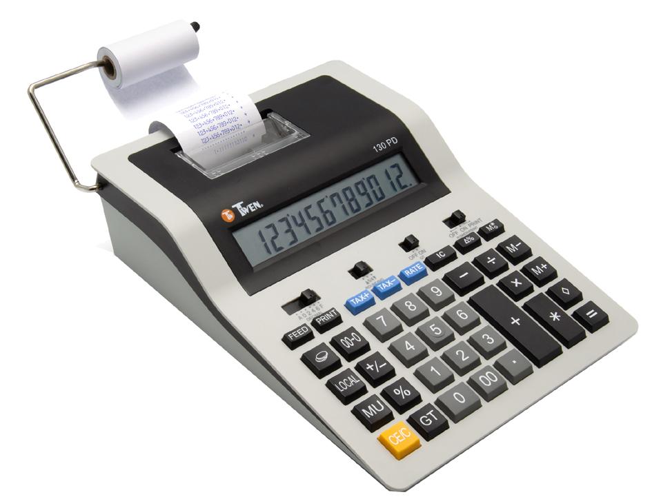 TWEN druckender Tischrechner 130 PD, grau/schwarz