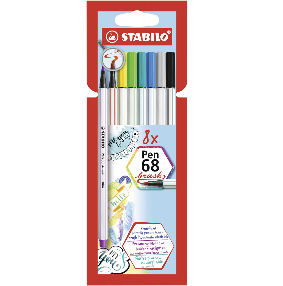 STABILO Pinselstift Pen 68 brush, 12er Karton-Eui