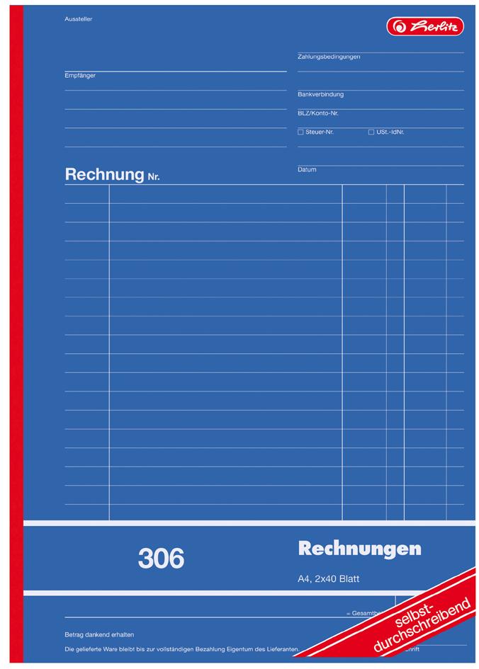 herlitz Formularbuch ´Rechnung 303´, DIN A6, 2 ...