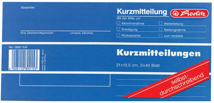 herlitz Formularbuch ´Kurzmitteilung´, 1/3 A4 quer - Preisvergleich