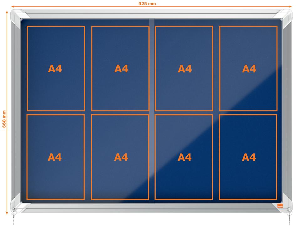 nobo Schaukasten, Schiebetür, Textil-Rückwand, 12 x DIN A4