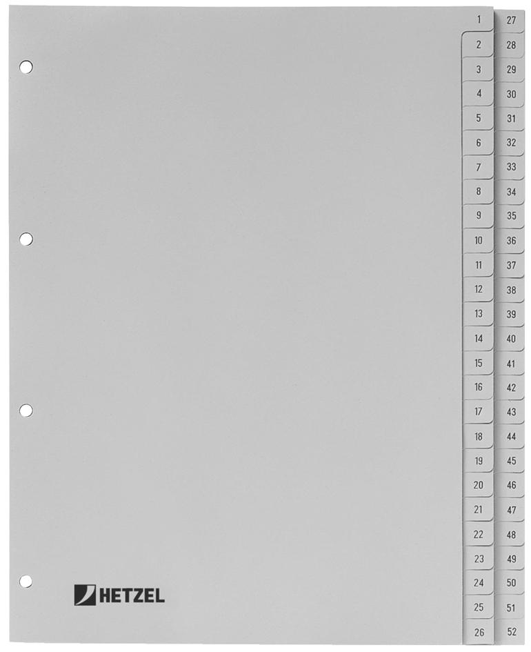 HETZEL Kunststoff-Register, Zahlen, A4, 1-52, P...