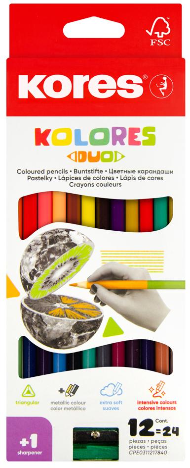Kores Dreikant-Buntstifte DUO, 12er Karton-Etui + Spitzer