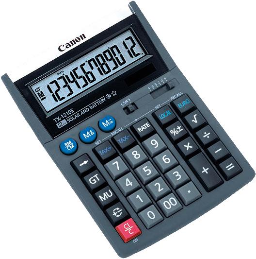 Canon Tischrechner TX-1210E, Solar-/ Batteriebetrieb