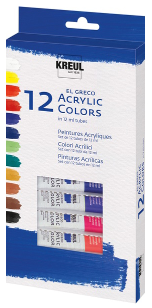 KREUL Acrylfarbe el Greco, 12 ml, 12er-Set