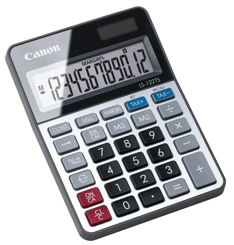 Canon Tischrechner LS-122 TS, Solar-/ Batteriebetrieb