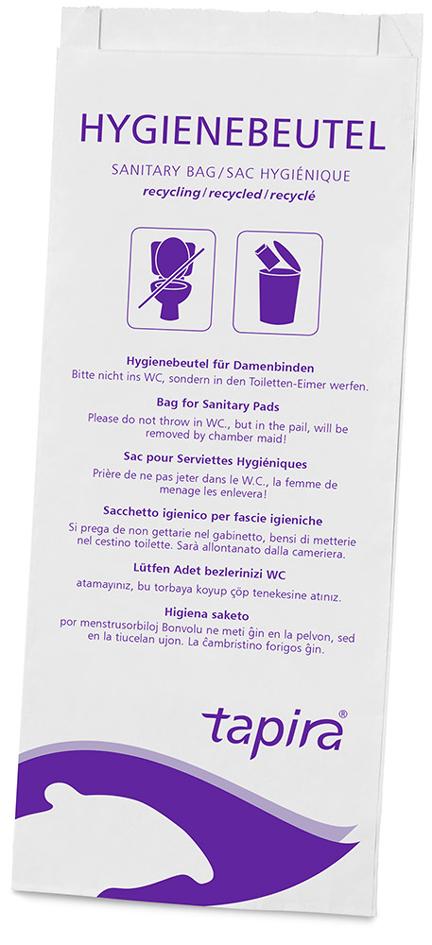 Tapira Papier-Hygienebeutel, bedruckt, weiß